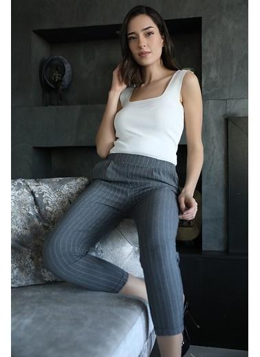 Vpr Moda Beli Lastikli Çizgili Kadın Havuç Pantolon Gri